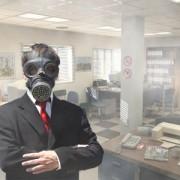 Employee-wearing-gas-mask