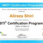 اخذ مدرک PROFESSIONAL PRACTITIONER در MBTI STEP I&II توسط دکتر شیری از مرکز جهانی CPP